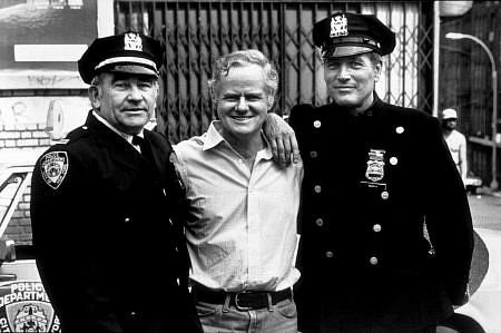 Petrie on the set of Fort Apache: The Bronx, with Ed Asner (left) and Paul Newman (right).