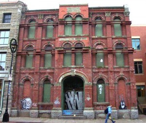 The front facade of the derelict historic NFB building on Barrington Street in 2004.