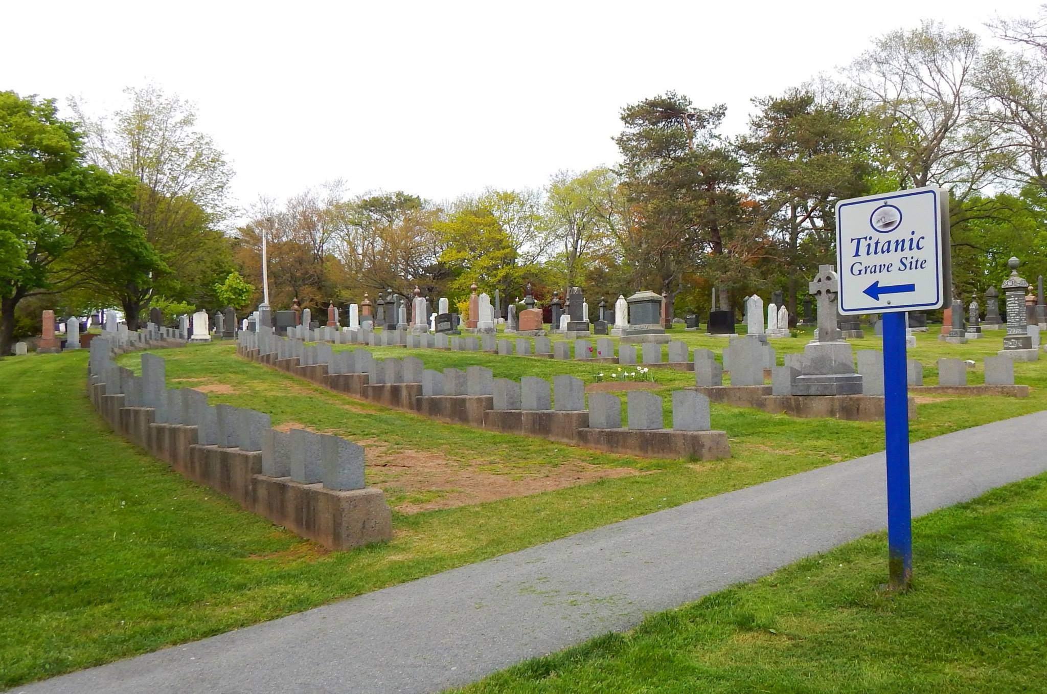 Graves of Titanic victims at Fairview Lawn cemetery in Halifax.