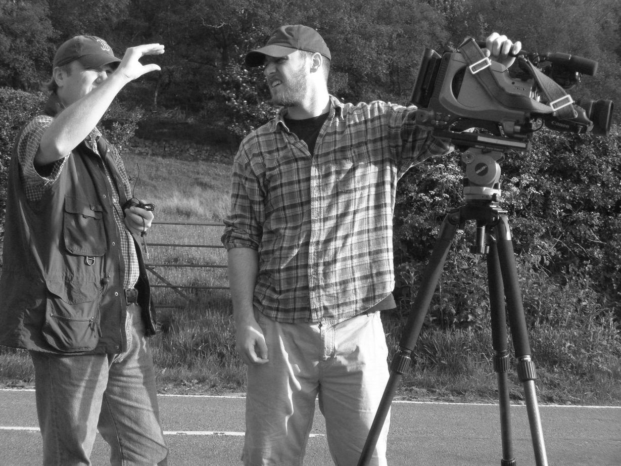 Yours truly (left) filming at Shocklach with cameraman Aaron Gowlett in 2009