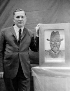 Albert Bender and a drawing of an MIB