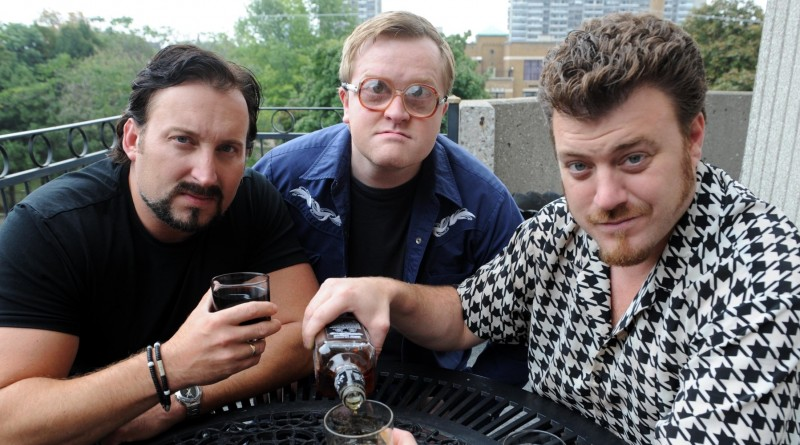 Sept2209RE9159076 Trailer Park Boys in Toronto promoting new movie Count Down To Liquor Day.Trailer Park Boys pouring a tall one. (L-R) Julian (J.P. Tremblay) Bubbles (Mike Smith) and Ricky (Robb Wells).Rick Eglinton Toronto Star. (Photo by Rick Eglinton/Toronto Star via Getty Images)